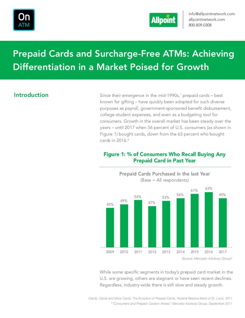 Prepaid Cards And Surcharge-Free Atms: Achieving Differentiation In A Market Poised For Growth