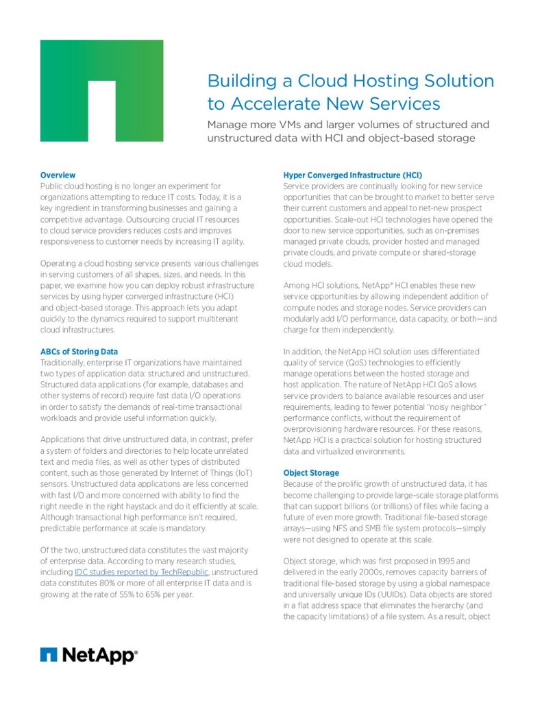 Building a Cloud Hosting Solution to Accelerate the New Services