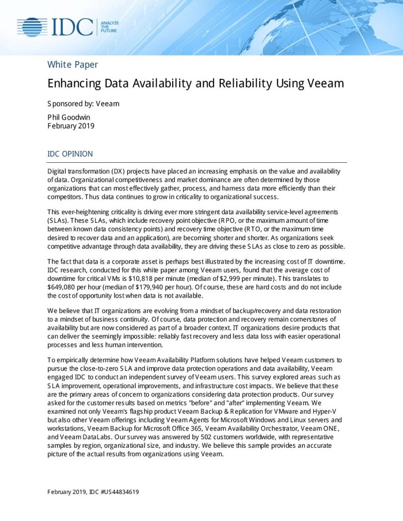 IDC report: Enhancing Data Availability and Reliability Using Veeam