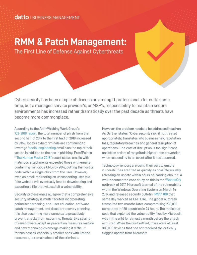 RMM  and  Patch Management: The First Line of Defense Against Cyberthreats