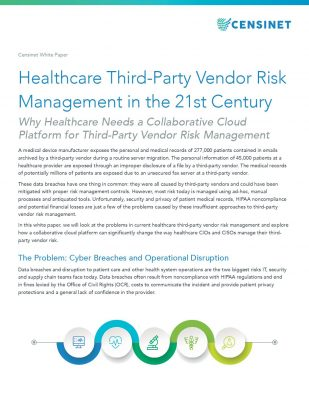 Healthcare Third-Party Vendor Risk Management in the 21st Century