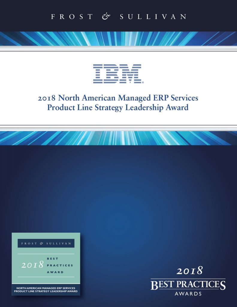 Frost and Sullivan North American Managed ERP Services Product Line Strategy Leadership Award – IBM