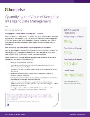 Quantifying the Value of a Komprise Intelligent Data Management
