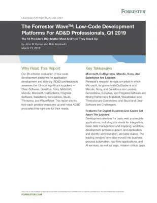 The Forrester Wave: Low-Code Development Platforms For ADD and D Professionals, Q1 2019