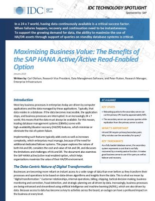 Maximizing Business Value: The Benefits of the SAP HANA Active/Active Read-Enabled Option
