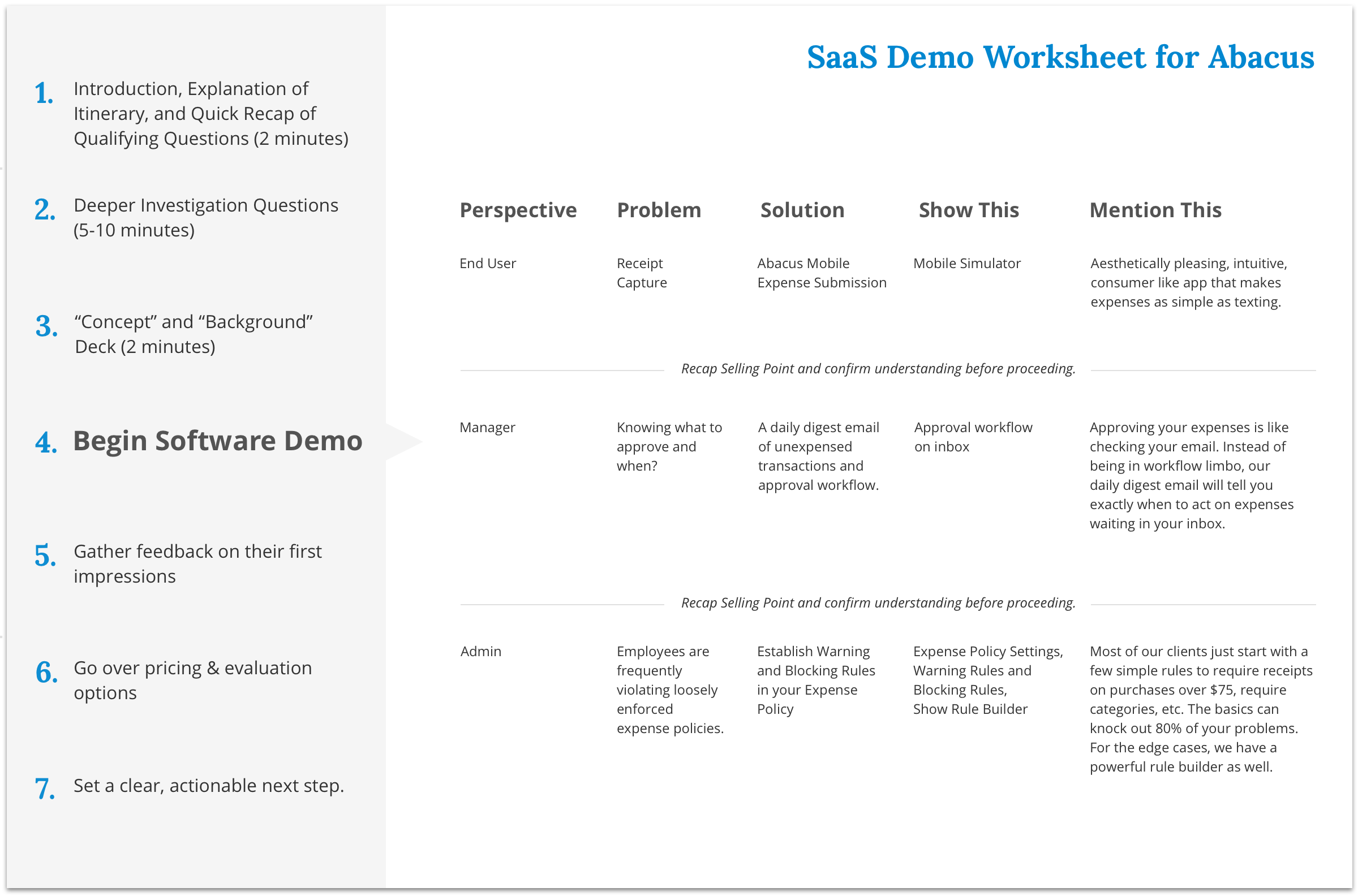 How to Create a Winning Worksheet for Your SaaS Demo : Abacus