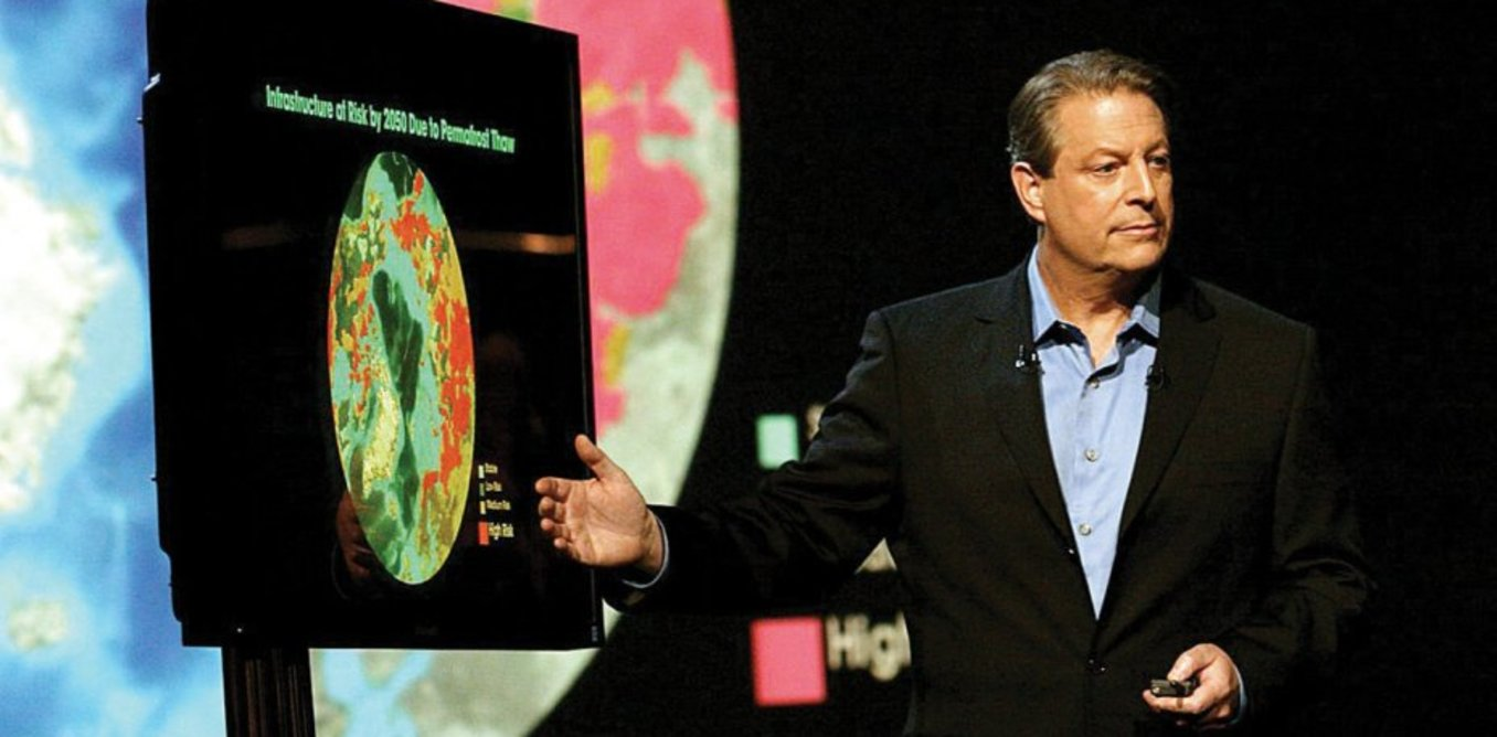 Al Gore delivering his slideshow presentation