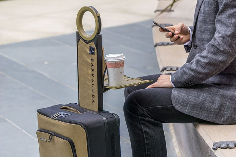 Barracuda suitcase serving as a laptop table