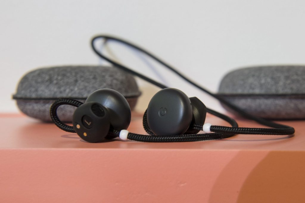 Google Pixel Buds on a table