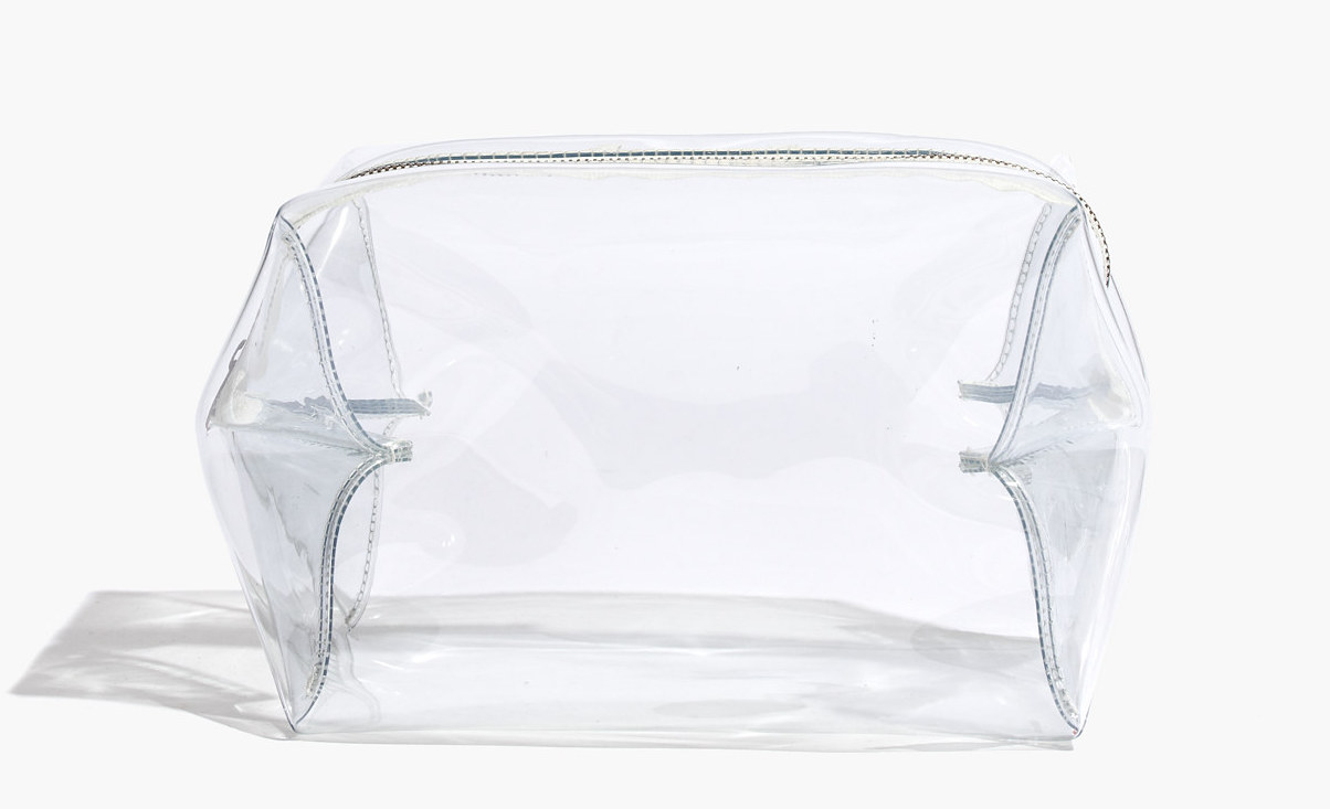 A transparent toiletry bag.