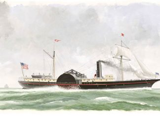 Portrait of S.S. Republic treasure ship at sea