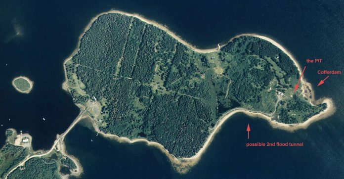 Oak Island money pit seen from the air