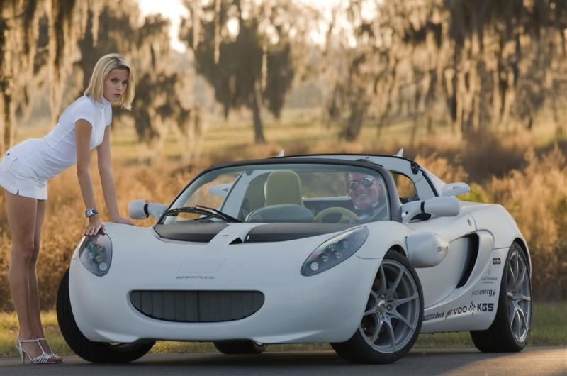 sQuba submersible car parked on land with beautiful blonde model leaning on the hood