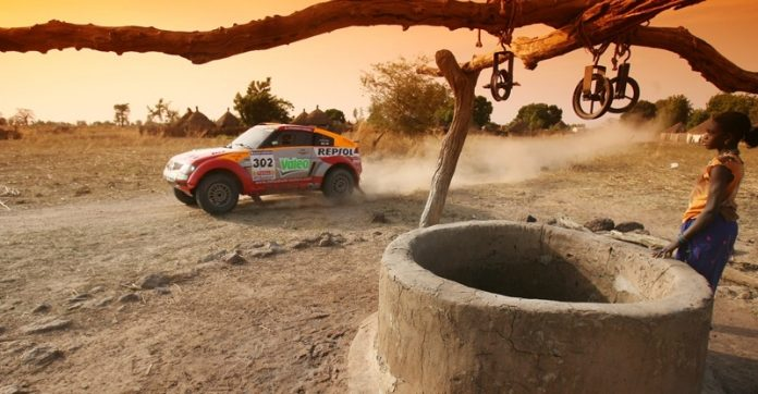 Dakar rally car in desert