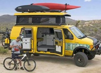 Sportsmobile Van loaded with adventure gear