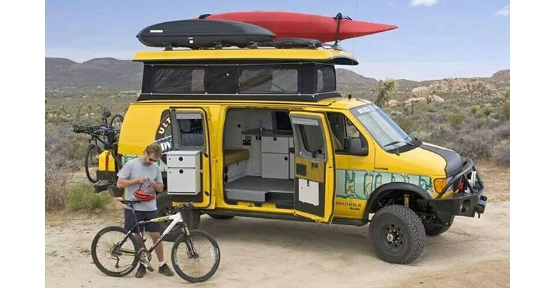 Sportsmobile Van loaded with adventure gear
