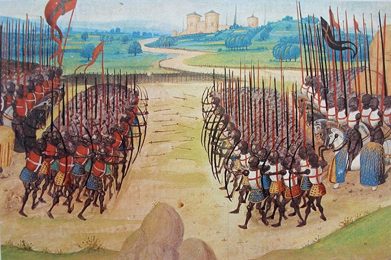 """""""The Battle of Azincourt,"""" 15th-century miniature, Enguerrand de Monstrelet"""