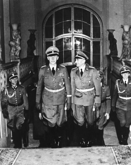 Heydrich with Karl Hermann Frank in Prague