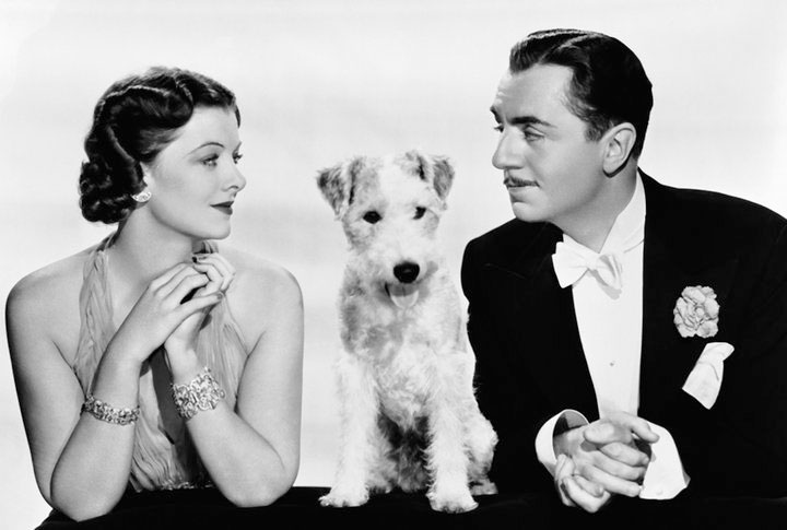 Myrna Loy, Skippy (as Asta), and William Powell in The Thin Man