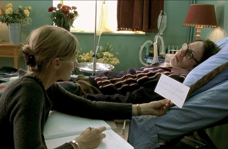 Anne Consigny and Mathieu Amalric in The Diving Bell and the Butterfly