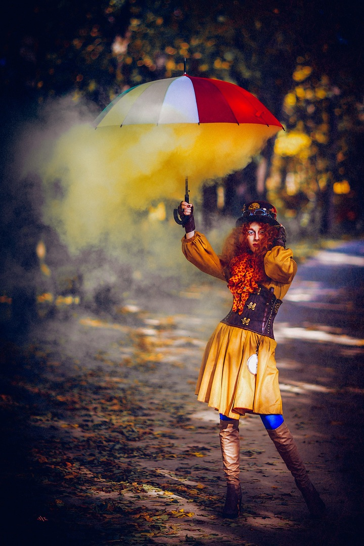 color colorful umbrella yellow model bescouted park autumn trees
