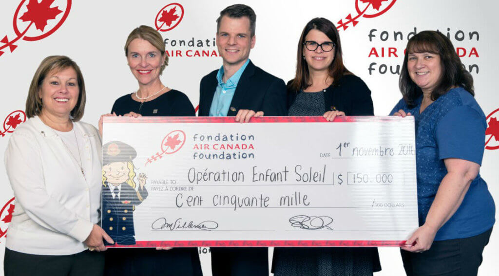 The $150,000 donation will be used to purchase specialized equipment and fund major projects at the Montreal Children's Hospital, the CHU Sainte-Justine and the Centre mère-enfant Soleil of the CHU de Québec-Université Laval. From left: Micheline Villeneuve, Air Canada Foundation; Marie-Claude Paré, Fondation du CHU de Québec; David Archambault, Opération Enfant Soleil; Anne Hudon, Opération Enfant Soleil; and Suzana Bulhoes, Air Canada Foundation. Air Canada Foundation Photo