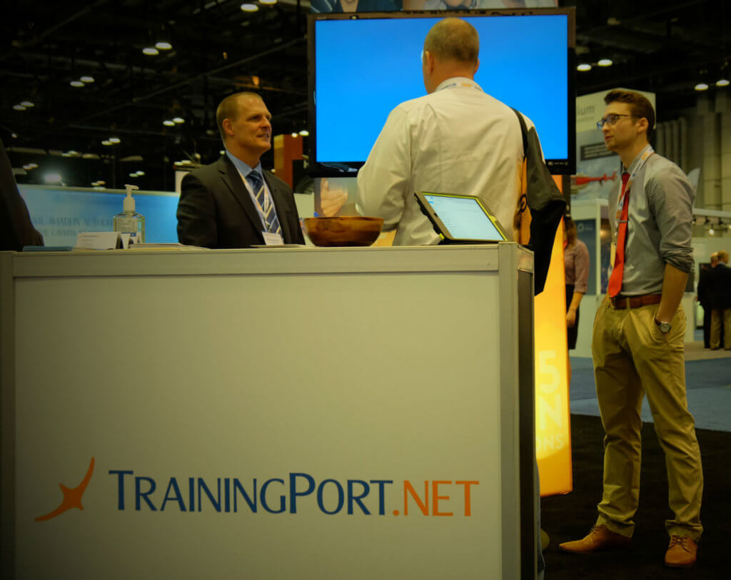 TrainingPort.net, a Canadian online training company, welcomed many visitors to its booth on the show floor and was celebrating a new flight attendant training program. Ben Forrest Photo