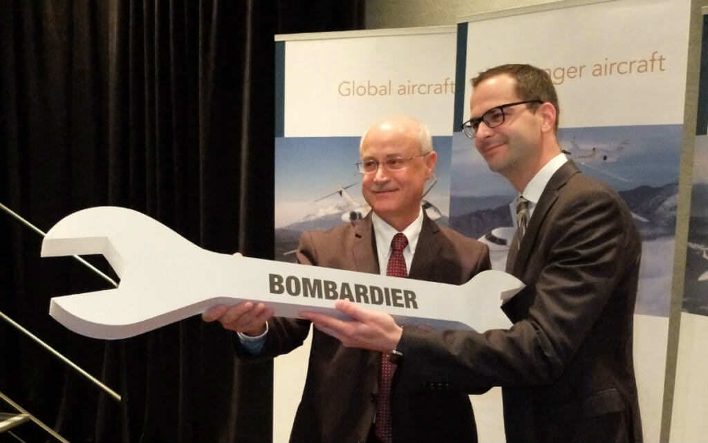 Bombardier announced a renewed focus on customer support at NBAA 2016. Andy Nureddin, left, vice president of customer support and training, poses with Jean-Christophe Gallagher, vice president and general manager of customer experience, following a press conference. Lisa Gordon Photo
