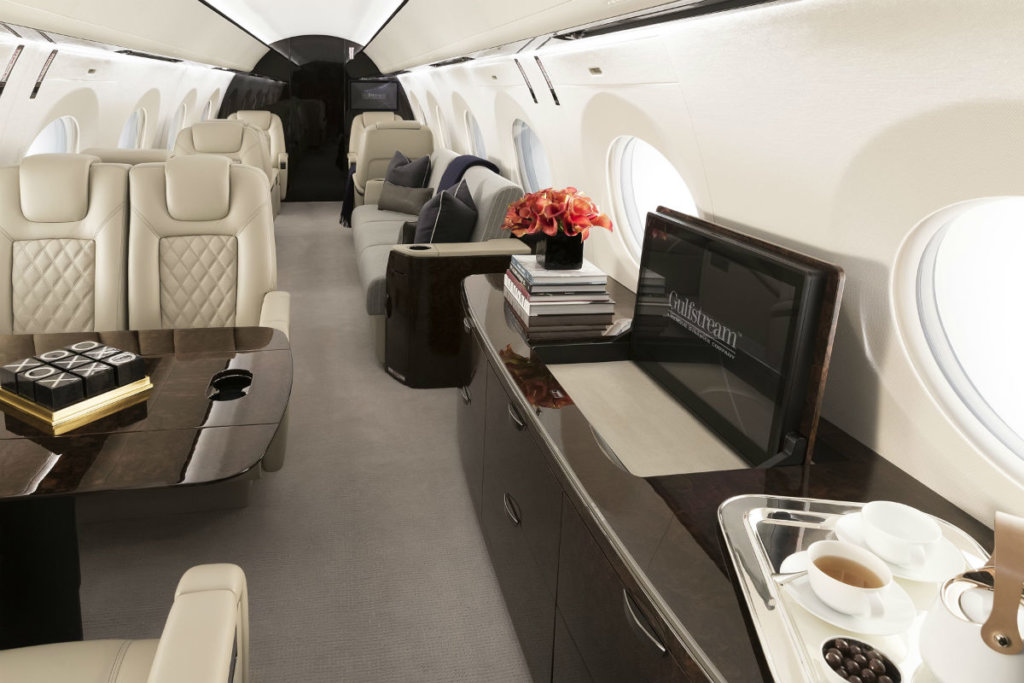 Gulfstream unveiled the first G500 outfitted production aircraft at NBAA-BACE 2016. The jet is scheduled for certification in 2017. Gulfstream Photo