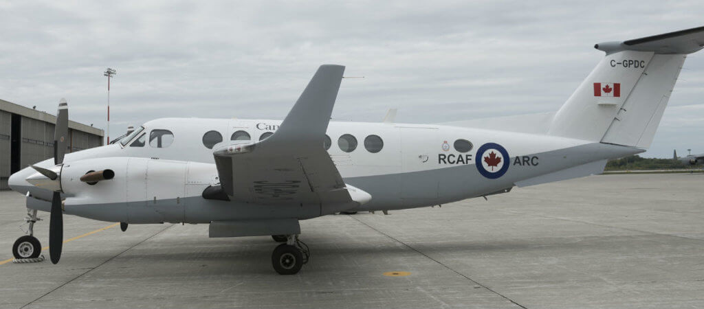 The RCAF's new livery is shown on this leased King Air 350, which operates out of 8 Wing Trenton, Onta. It is the first RCAF aircraft to receive the new paint scheme. RCAF Photo