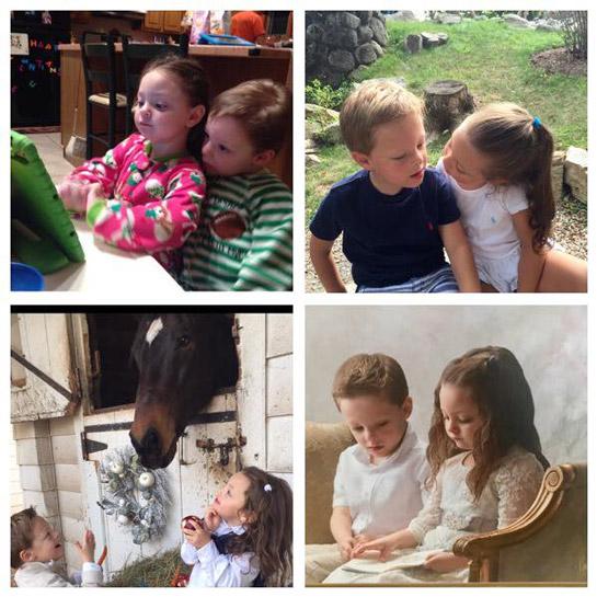 Picture collage of Mia and Leonardo