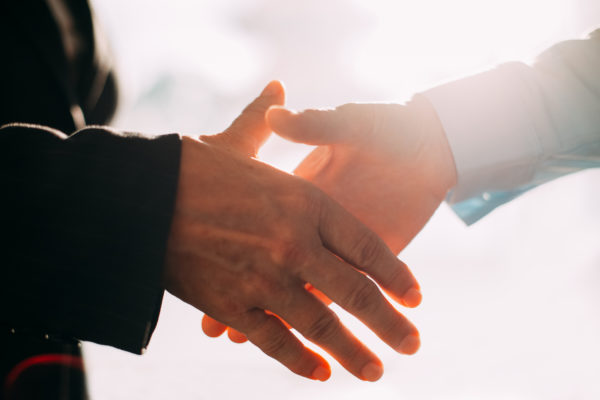 Close-up of male and female hands shaking. Business people greeting with handshake