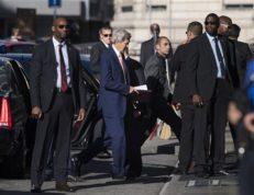 U.S. Secretary of State John Kerry, center, arrives for a new round of talks on Syria, in Geneva, Switzerland, Friday, Aug. 26, 2016. (Martial Trezzini/Keystone via AP)