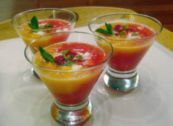 This Aug. 22, 2016 photo shows cantaloupe and watermelon gazpacho in New York. This dish is from a recipe by Sara Moulton. (Sara Moulton via AP)