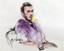 This courtroom sketch shows suspected theater shooter James Holmes during a previous motions hearing in district court in Centennial, Colo., prosecutors want Holmes to undergo additional psychiatric evaluation. (AP Photo/Bill Robles, Pool)
