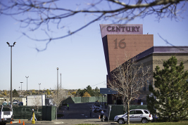 The outdoor theater lettering is no longer Oct. 23 at Century Aurora 16 theater. Plans for the redesigned theater call for major changes to theater 9, where 12 people were killed in the July 20 rampage.  (Marla R. Keown/Aurora Sentinel)