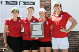 Regis Jesuit girls golfers (left to right) Sydney Gillespie, Kathleen Kershisnik, Sofia Vigil and Lauren Richardson pose with the championship plaque after winning the Class 4A Metro West Regional tournament on May 14, 2012, at West Woods Golf Club in Arvada. The Raiders won their third straight regional championship and qualified all four players for the 4A state tournament May 21-22 at Boomerang Golf Course in Greeley. (Courtney Oakes/Aurora Sentinel)