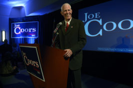 FILE - In this Tuesday Nov. 6, 2012, file photo, Joe Coors Jr. talks to his supporters at his official campaign watch party in Golden, Colo., but he failed in his bid for Congress in Colorado's 7th congressional district. Coors, an entrepreneur, onetime congressional candidate and member of Colorado's prominent Coors brewing family, has died. Pete Coors, vice chairman of MolsonCoors Brewing Co., confirmed in a statement that his brother died on Thursday, Sept. 15, 2016. (Helen H. Richardson/The Denver Post via AP, File)