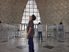 A boy ogles at the domed ceiling of the Jinnah Mausoleum in Karachi. Photo by Quincy Snowdon/Aurora Sentinel