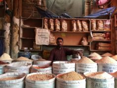 A grain vendor inside Empress Market in Karachi. Photo By Quincy Snowdon/ Aurora Sentinel