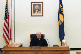 In this undated photo, Montana state District Judge John McKeon is interviewed in his courtroom in Malta, Mont. McKeon has announced plans to retire in November, 2016, after getting national attention for sentencing a man who pleaded guilty to raping his 12-year-old daughter to 60 days in jail and suspending a 30-year prison sentence. (Teresa Getten/Havre Daily News via AP)