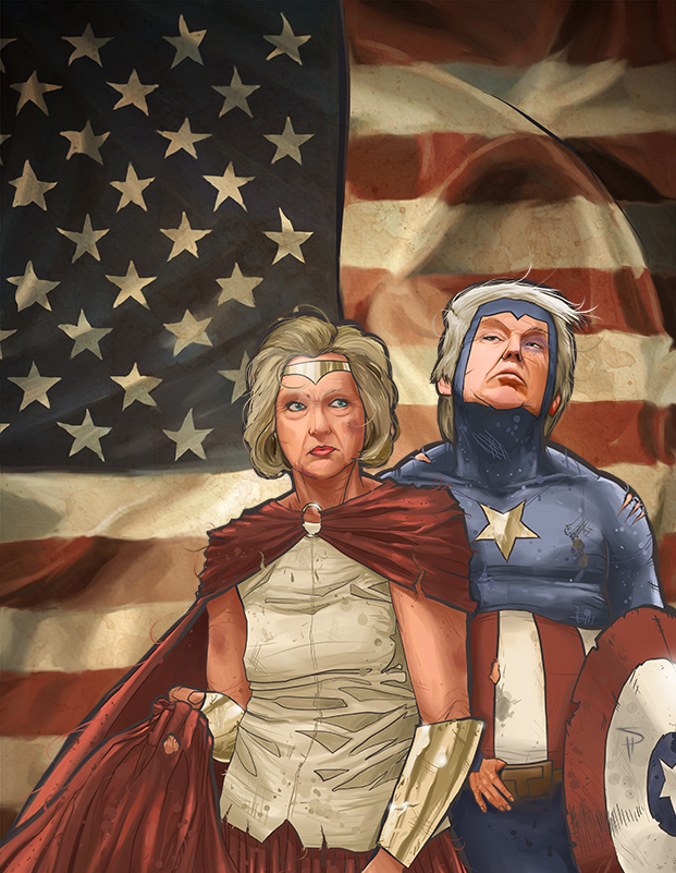 Who's your hero, America? One of these two firebrands are headed to the White House to save us. Illustration by Seth Shatland.