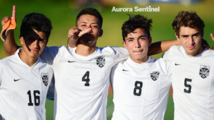 Rangeview's Cristofer Reza (16), Orlin Euceda (4), Juan Chavez (8) and Joey Carlson (5) help led the Raiders in the 2016 Class 5A boys state soccer playoffs as the No. 11 overall seed. The EMAC champions' only two losses of the season came to No. 1 Denver East and No. 6 Arapahoe. Rangeview plays host to Greeley West at 6 p.m. at Aurora Public Schools Stadium on Oct. 27, 2016, when all six of the city's state-qualifying teams get into first round action. (Photo by Courtney Oakes/Aurora Sentinel)