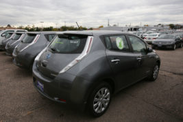 The Nissan Leaf is for sale on Tuesday Oct. 25, 2016 at Tynan's Nissan. The city of Aurora teamed with Tynan's Nissan in an effort to get more electric cars on the city's roads. Photo by Gabriel Christus/Aurora Sentinel