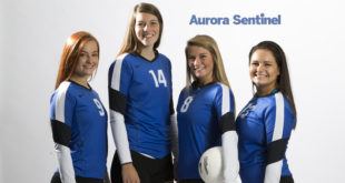 Grandview High School volleyball Brennah Gaston, Madison Fleer, Raychel Reed and Angelica Juan on Friday Aug. 05, 2016 at Aurora Sentinel. Photo by Gabriel Christus/Aurora Sentinel