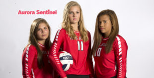 Regis Jesuit High School volleyball Jenna Heinemeyer, Alex Osredker and Kasandra Sturges on Wednesday Aug. 10, 2016 at Aurora Sentinel. Photo by Gabriel Christus/Aurora Sentinel