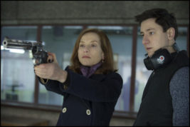 """This image released by Sony Pictures Classics shows Isabelle Huppert, left, and Arthur Mazet in a scene from, """"Elle."""" (Guy Ferrandis/Sony Pictures Classics via AP)"""