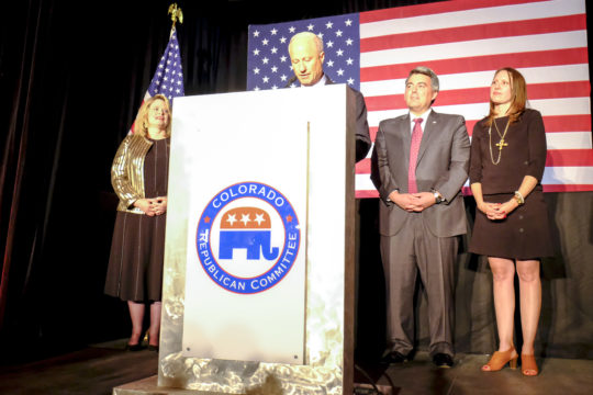 With support from U.S. Senator Cory Gardner, center right, Rep. Mike Coffman addresses the crowd at the GOP watch party Nov. 8, at the Doubletree Hotel in the Denver Tech Center. (Photo by Philip B. Poston/Aurora Sentinel)