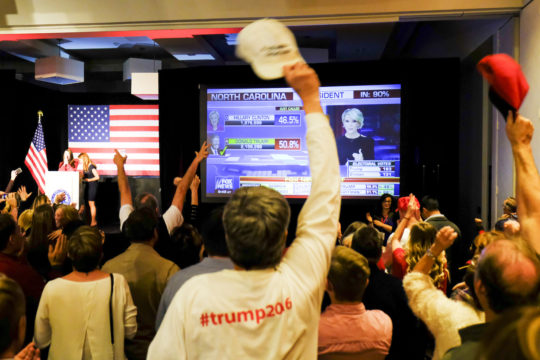 As Trump wins North Carolina, the crowd at the GOP watch party erupts into a roar, Nov. 8 at the Doubletree Hotel in the Denver Tech Center.(Photo by Philip B. Poston/Aurora Sentinel)