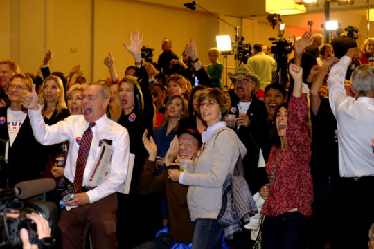 Trump supporters celebrate to the results of Trump winning the Ohio electorates at the GOP watch party Nov. 8, at the Doubletree Hotel in the Denver Tech Center. (Photo by Philip B. Poston/Aurora Sentinel)
